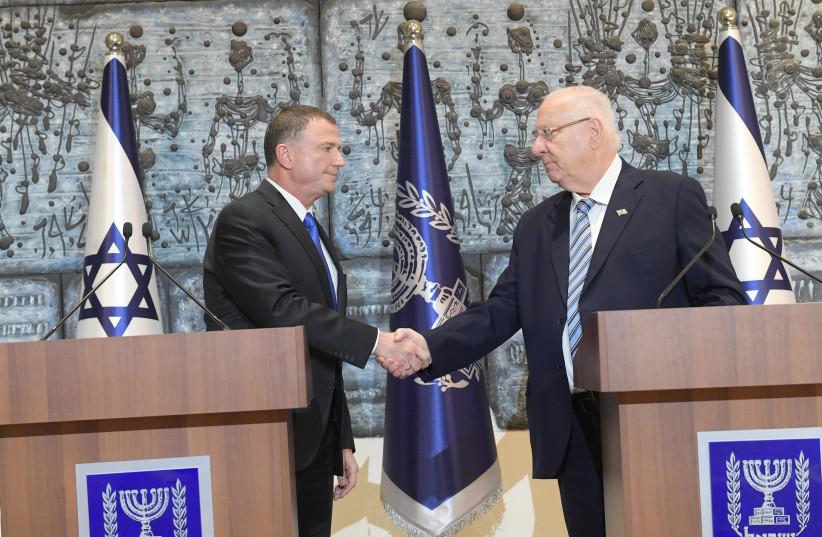 President Reuven Rivlin and Knesset Speaker Yuli Edelstein (photo credit: AMOS BEN-GERSHOM/GPO)