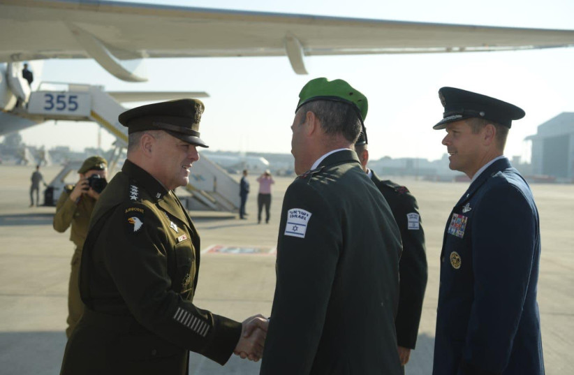 US Army General and Chairman of the Joint Chiefs of Staff Gen. Mark Milley meeting with his Israeli counterparts (photo credit: IDF)