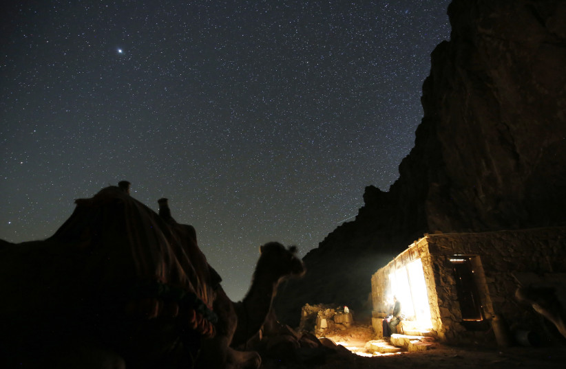 A tourist rests next to a camel under the stars near the summit of Mount Sinai (photo credit: REUTERS)