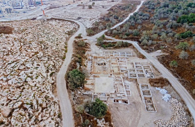 The site of the church exposed in  Ramat Beit Shemesh (photo credit: ASSAF PEREZ, COURTESY OF IAA)