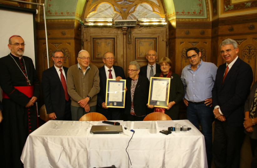 Posthumous awards given at a ceremony in Jerusalem to members of Rabbi Nathan Cassuto and Matilda Cassin family, who saved Italian Jews during the Holocaust (photo credit: MOSHE MIZRAHI)