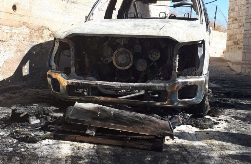 Vehicle torched in Tayibe in alleged price tag attack (photo credit: TAYIBE CITY COUNCIL)