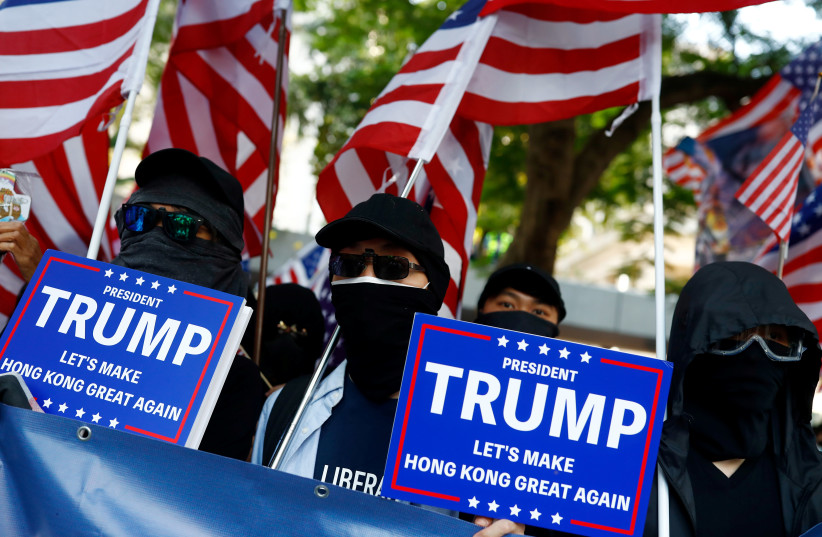"""""""March of Gratitude to the US"""" event in Hong Kong (photo credit: REUTERS)"""