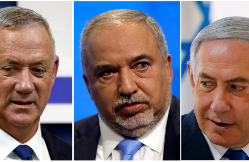 Blue and White leader Benny Gantz, Yisrael Beteynu chairman Avigdor Liberman and Prime Minister Benjamin Netanyahu (photo credit: REUTERS)