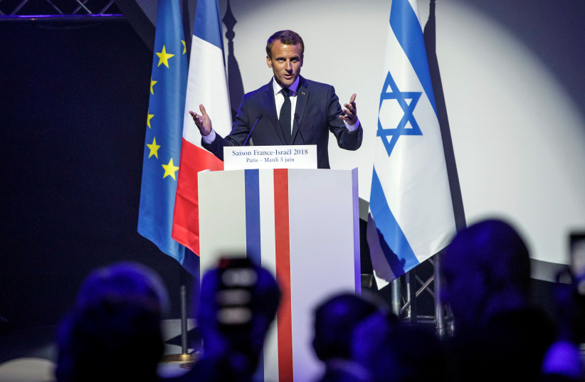 French President Emmanuel Macron attends the opening ceremony of the France-Israel season event in Paris. (photo credit: CHRISTOPHE PETIT TESSON/POOL VIA REUTERS)