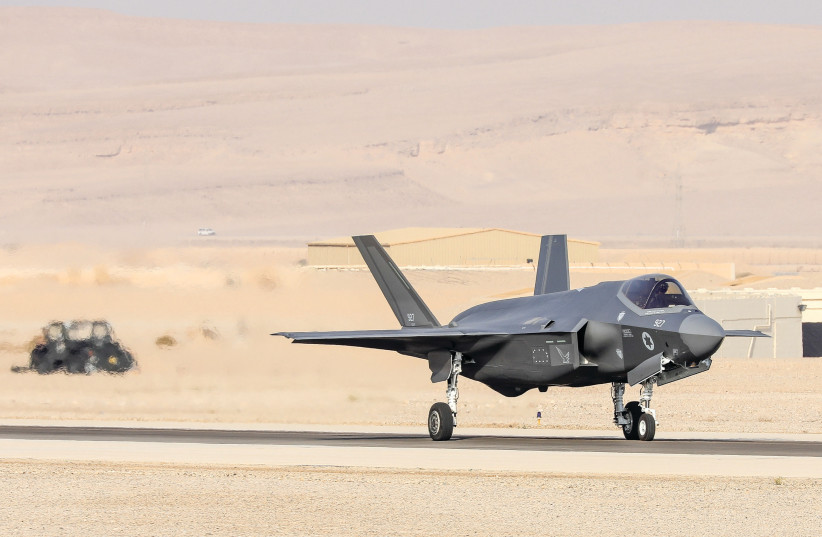 AN ISRAELI F-35 fighter jet gets ready to take off in the Negev. Will it soon fly to Iran? (photo credit: MARC ISRAEL SELLEM/THE JERUSALEM POST)
