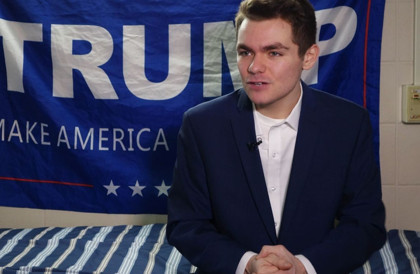 Nick Fuentes answers question during an interview with Agence France-Presse in Boston, May 9, 2016. (photo credit: WILLIAM EDWARDS/AFP VIA GETTY IMAGES)