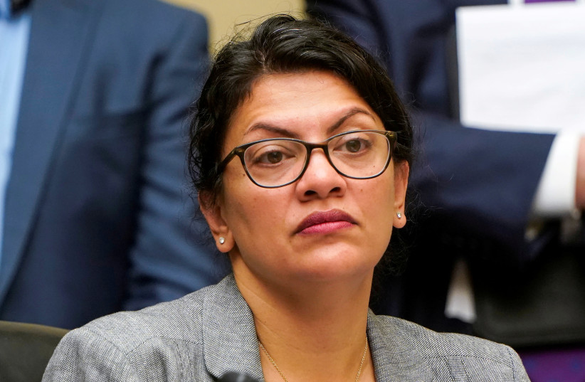 "Rep. Rashida Tlaib (D-MI) listens as Acting Homeland Security Secretary Kevin McAleenan testifies before the House Oversight and Reform Committee on ""Trump Administration's Child Separation Policy"" on Capitol Hill in Washington, U.S., July 18, 2019 (photo credit: REUTERS/JOSHUA ROBERTS)"