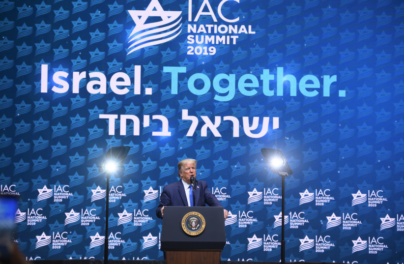 US President Donald Trump speaks at the Israeli-American Council 2019 Summit. (photo credit: ISRAEL-AMERICAN COUNCIL)