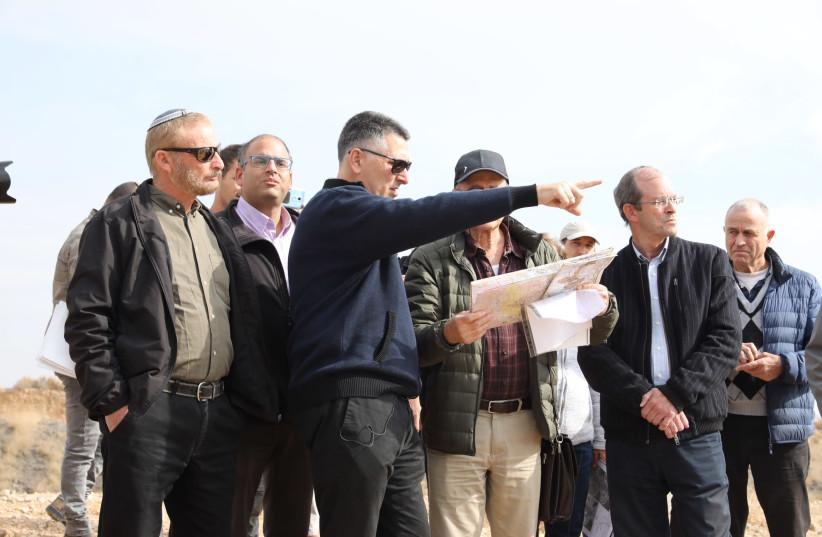 Likud MK Gideon Sa'ar looks out over the Bedouin outpost of Khan al-Amar, West Bank, December 10, 2019 (credit: MARC ISRAEL SELLEM/THE JERUSALEM POST)