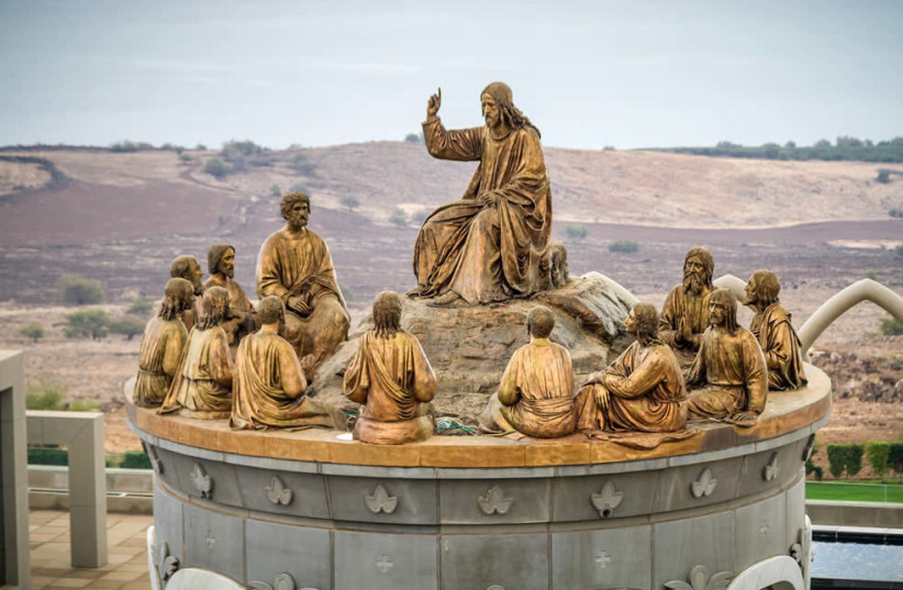 The statue of Jesus and the 12 Apostles on the Mount of Beatitudes in the Galilee (photo credit: PAUL ALSTER)
