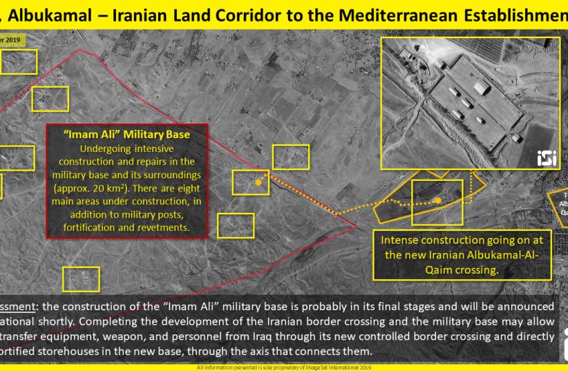 Vue aérienne d'une construction intense au passage d'Iran Albukamal-Al-Qaim (crédit photo: IMAGESAT INTERNATIONAL (ISI))