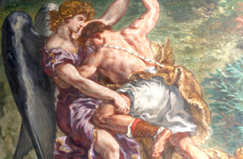 'JACOB WRESTLING with the Angel,' fresco of Eugène Delacroix. (photo credit: Wikimedia Commons)