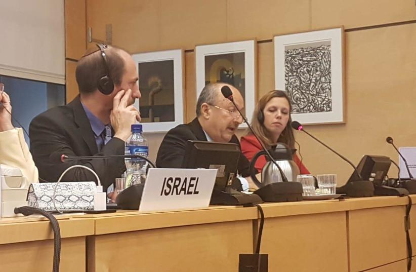 UN committee in Geneva with major general Jamal Hakroosh (photo credit: POLICE SPOKESPERSON'S UNIT)