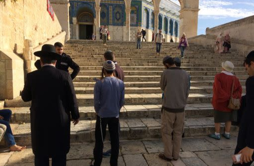 Jewish worshippers pray in full view of police on Temple Mount (photo credit: THE ASSOCIATION OF TEMPLE MOUNT ORGANIZATIONS)