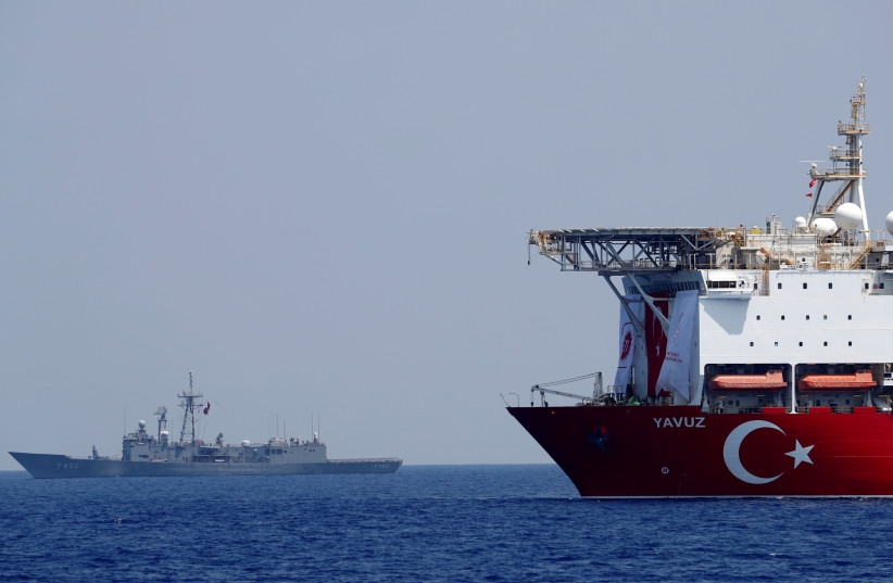 Turkish drilling vessel Yavuz is pictured in the eastern Mediterranean See off Cyprus (photo credit: REUTERS)