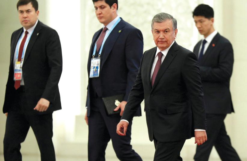 UZBEK PRESIDENT Shavkat Mirziyoyev arrives for a meeting with China's president in Beijing. (photo credit: REUTERS)