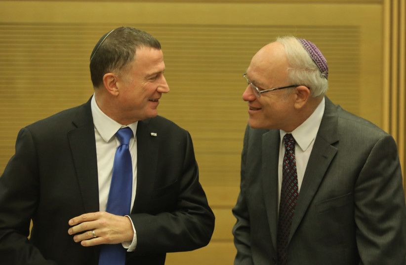 Knesset Speaker Yuli Edelstein and new Central Elections Committee chairman, Supreme Court Judge Neal Hendel (photo credit: MARC ISRAEL SELLEM/THE JERUSALEM POST)