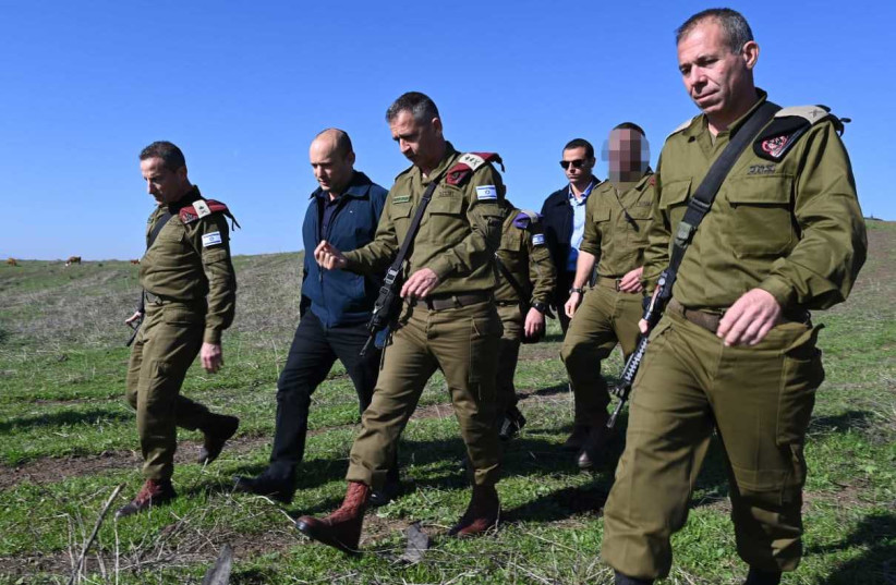 Israeli Defense Minister joins IDF Chief of Staff Lt.-Gen. Aviv Kochavi for large-scale drill in the north. (photo credit: MINISTRY OF DEFENSE)