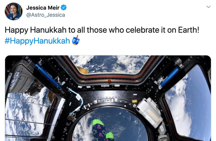 Hanukkah greetings from astronaut Jessica Meir's Twitter account.  (photo credit: TWITTER SCREENSHOT)