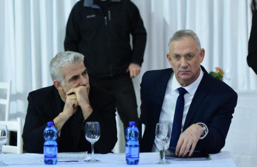 Blue and White leader Benny Gantz and MK Yair Lapid (photo credit: AVSHALOM SASSONI/MAARIV)