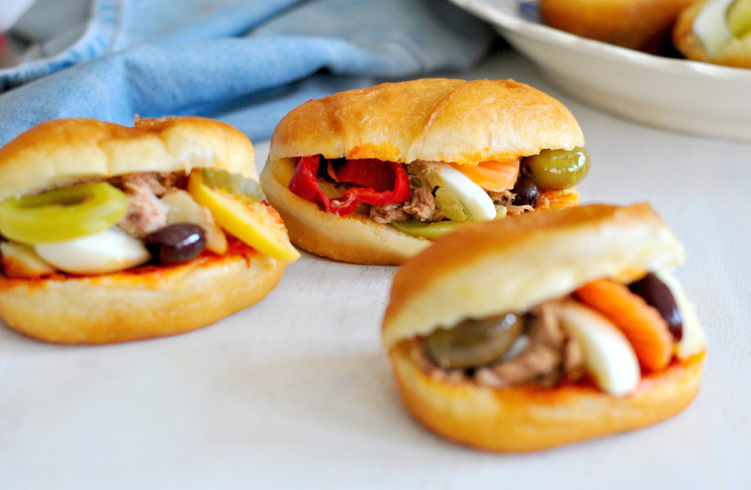 Fricassee sandwiches  for Hanukkah (photo credit: PASCALE PEREZ-RUBIN)