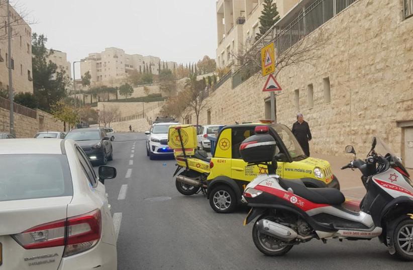 Scene of stabbing incident in the Har Homa neighborhood of Jerusalem, Dec. 25, 2019 (photo credit: MAGEN DAVID ADOM OPERATIONAL DOCUMENTATION)