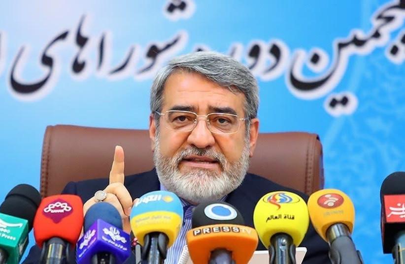 Iran Interior Minister Abdolreza Rahmani Fazli press conference (photo credit: MOHAMMAD HASSANZADEH/TASNIM NEWS AGENCY)