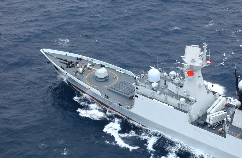 Chinese People's Liberation Army (PLA) Navy's guided-missile frigate Yueyang takes part in a China-Thailand joint naval exercise in waters off the southern port city of Shanwei, Guangdong province, China May 6, 2019. (photo credit: REUTERS)