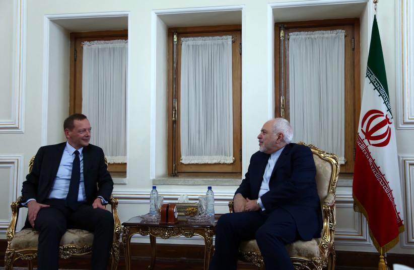 France's top diplomat Emmanuel Bonne meets with Iran's Foreign Minister Mohammad Javad Zarif in Tehran, Iran July 10, 2019 (photo credit: NAZANIN TABATABAEE/WANA VIA REUTERS)