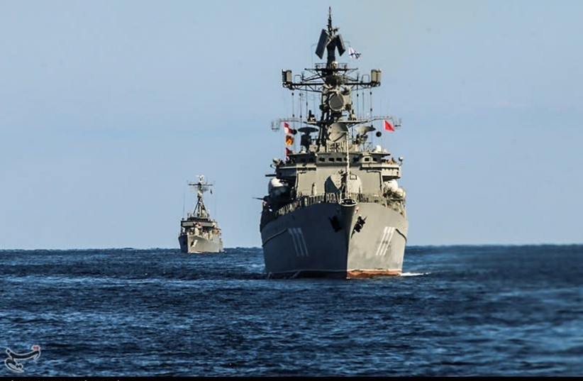 Trilateral naval exercise with Iran, Russia and China in Gulf of Oman and Indian Ocean, Dec. 2019 (photo credit: HOSSEIN ZOHREVAND/TASNIM NEWS AGENCY)