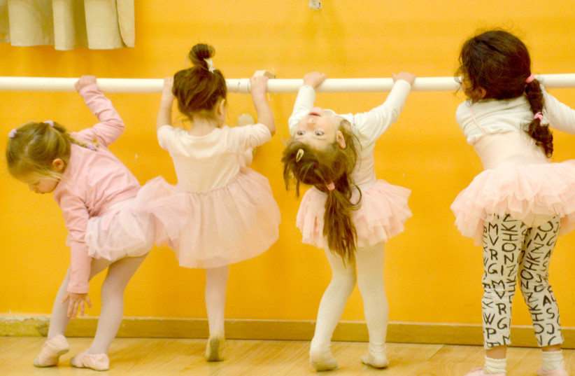 BARRING THE UNEXPECTED: The Not-Ready-for-Prime-Time Tiny Dancers limber up in an Efrat dance studio for their next highly acclaimed performance.  (photo credit: STUART GHERMAN)