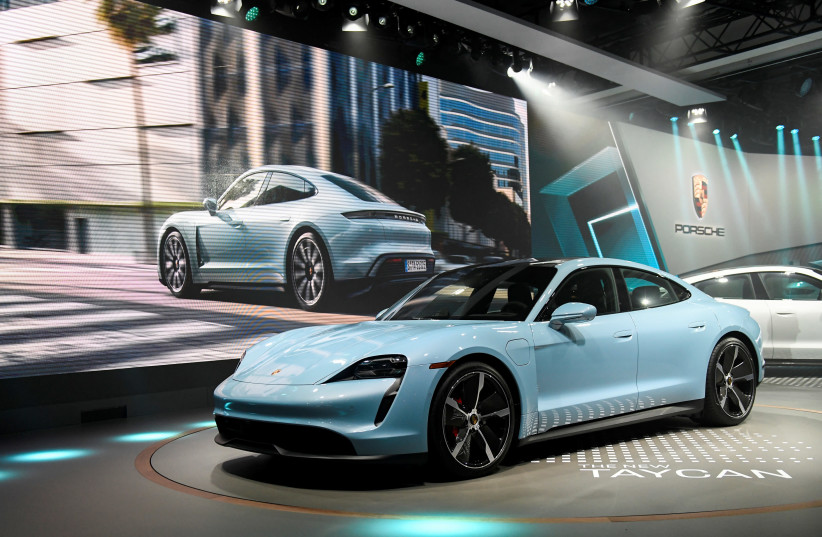 Porsche introduces its new Taycan 4S at the LA Auto Show in Los Angeles, California, U.S., November 20, 2019 (photo credit: REUTERS)