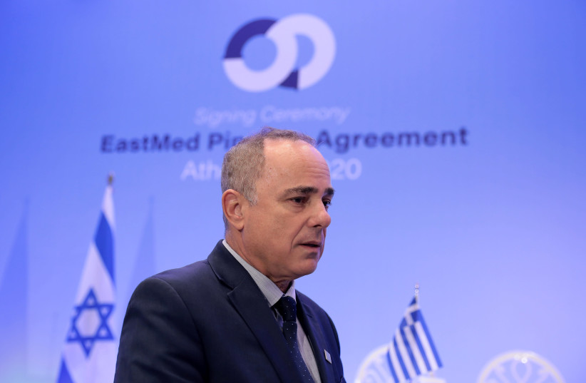 Israeli Energy Minister Yuval Steinitz speaks during an interview with Reuters in Athens, Greece, January 2, 2020 (photo credit: COSTAS BALTAS / REUTERS)