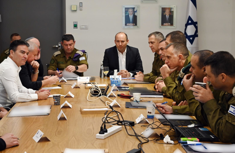 Defense Minister Naftali Bennett at meeting with Chief of Staff Aviv Kochavi and security officials, Jan. 3, 2020 (photo credit: ARIEL HERMONI / DEFENSE MINISTRY)