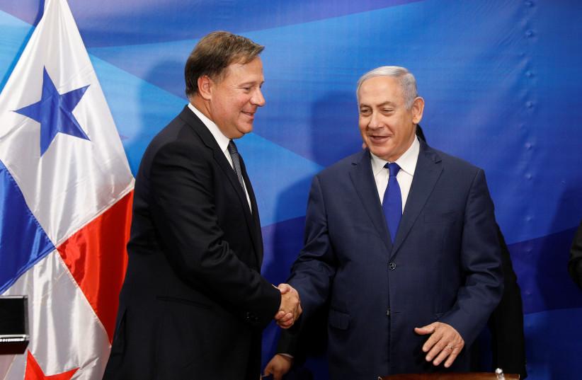 PM Benjamin Netanyahu meeting with former Panamanian President Juan Carlos Varela (photo credit: REUTERS)