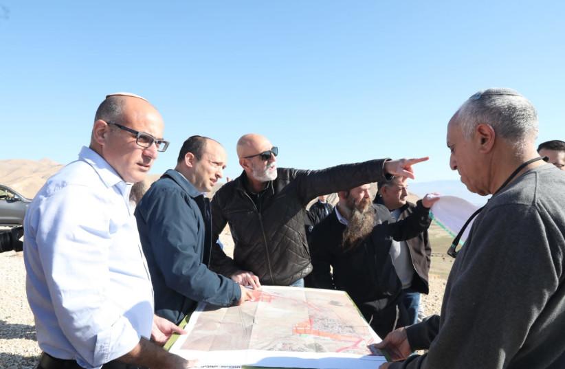 Defense Minister Naftali Bennett (left) and YESHA head David ElHayani (photo credit: MIRI TZAHI/COURTESY OF THE YESHA COUNCIL)