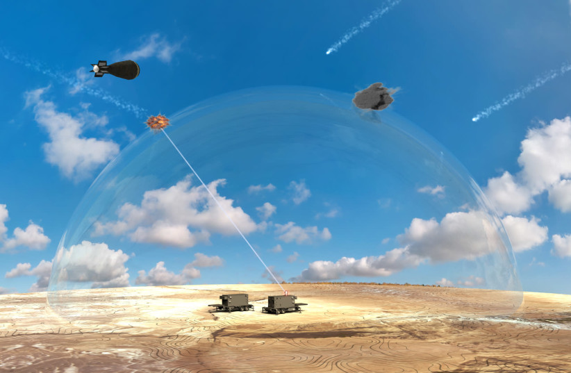 Artistic depiction of how innovative laser defense system would function on the battle field (photo credit: Courtesy)