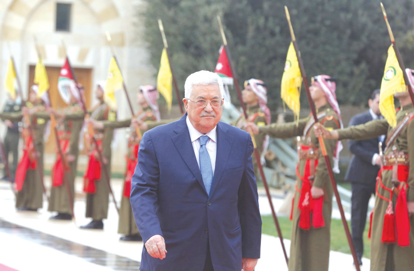 Palestinian President Mahmoud Abbas arrives to meet with Jordan's King Abdullah in Amman, last year. (photo credit: KHALIL MARZAAWI/REUTERS)