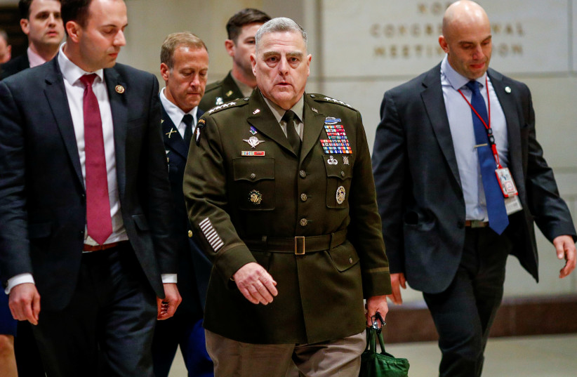 Chairman of the Joint Chiefs of Staff Army General Mark Milley arrives to brief members of the U.S. Senate on developments with Iran after attacks by Iran on U.S. forces in Iraq, at the U.S. Capitol in Washington, U.S., January 8, 2020 (photo credit: REUTERS/TOM BRENNER)