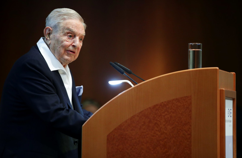 Billionaire investor George Soros speaks to the audience at the Schumpeter Award in Vienna, Austria June 21, 2019.  (photo credit: REUTERS/LISI NIESNER)