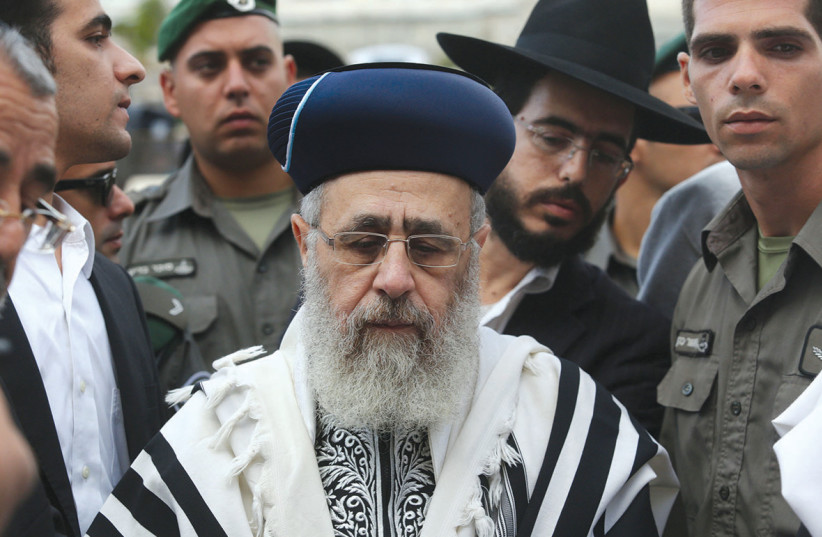 SEPHARDI CHIEF Rabbi Yitzhak Yosef (photo credit: MARC ISRAEL SELLEM/THE JERUSALEM POST)