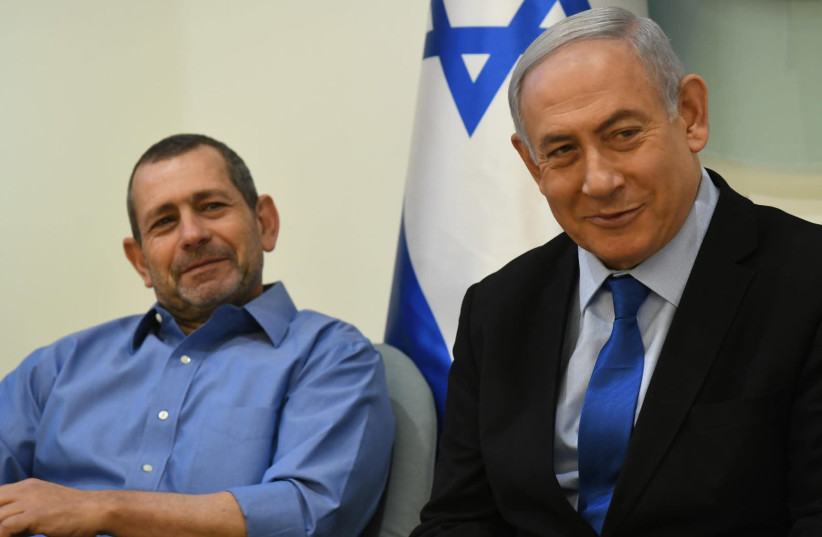 Prime Minister Benjamin Netanyahu and Shin Bet Director Nadav Argaman at an awards ceremony for the top performers in the country's intelligence agencies, January 20, 2020 (photo credit: AMOS BEN-GERSHOM/GPO)