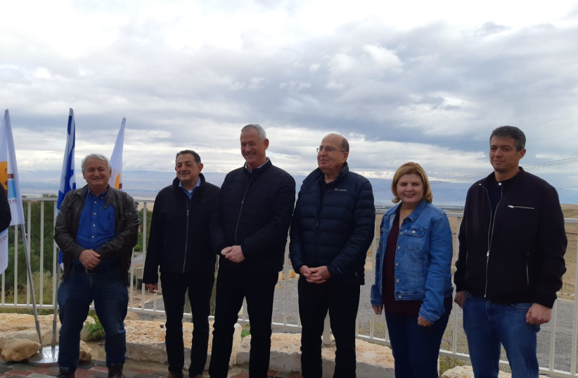 Blue and White leader Benny Gantz (C) tours the Jordan Valley, January 21, 2020 (photo credit: JORDAN VALLEY REGIONAL COUNCIL)