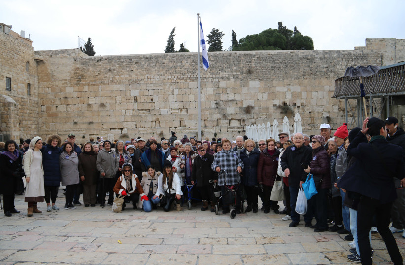 Holocaust survivors celebrate their bar mitzvah at the Western Wall, January 2020 (photo credit: WESTERN WALL HERITAGE FOUNDATION)