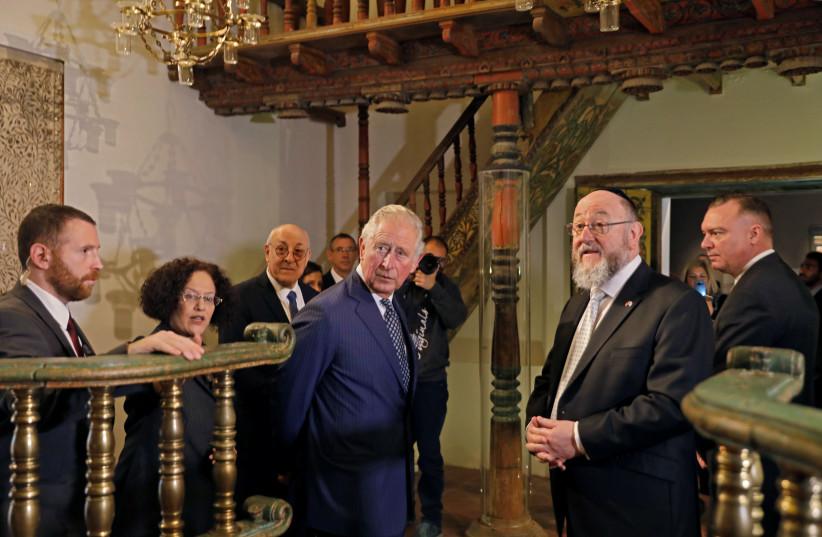Britain's Prince Charles visits the Israel Museum in Jerusalem, January 23, 2020 (photo credit: MENAHEM KAHANA / REUTERS)