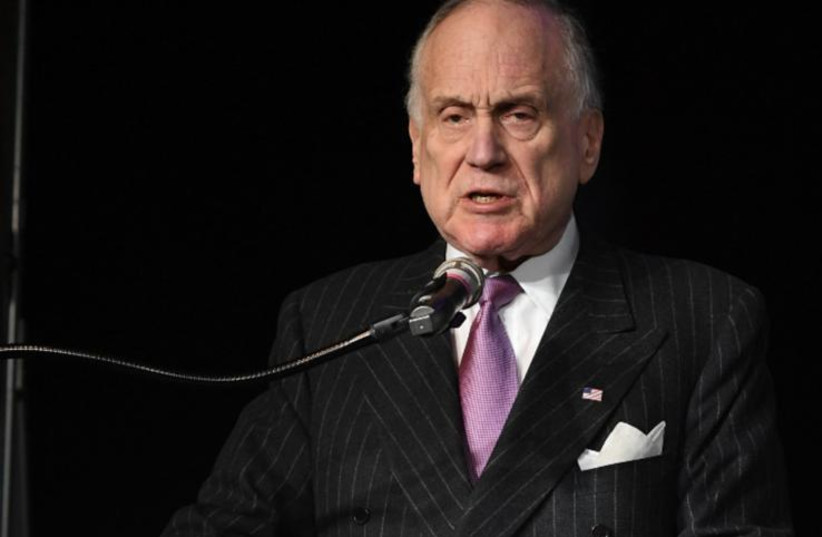 Ronald S. Lauder, President of the World Jewish Congress speaking at a ceremony marking the 75th anniversary of the liberation of Auschwitz-Birkenau in Poland (photo credit: Courtesy)