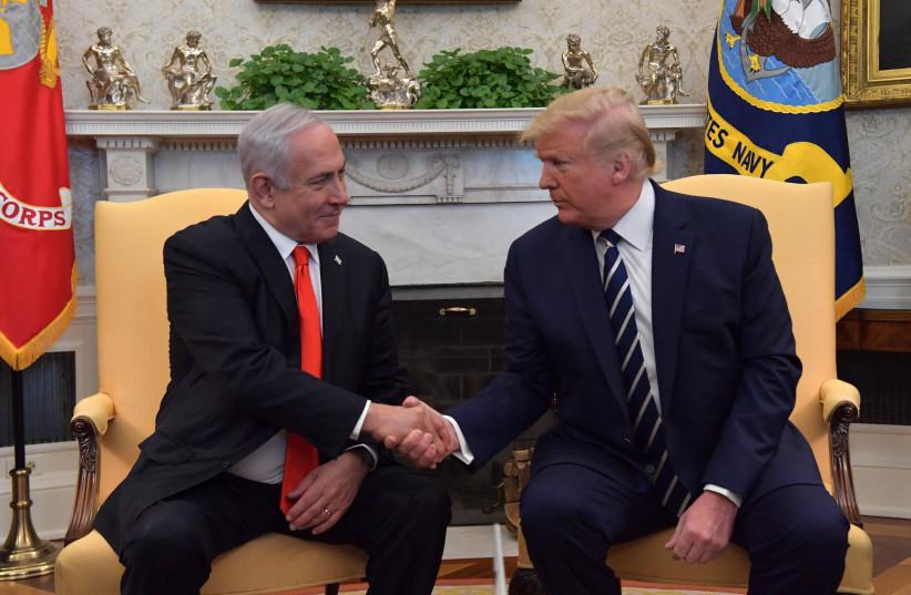 US President Donald Trump welcomes Prime Minister Benjamin Netanyahu at the White House (photo credit: KOBI GIDEON/GPO)