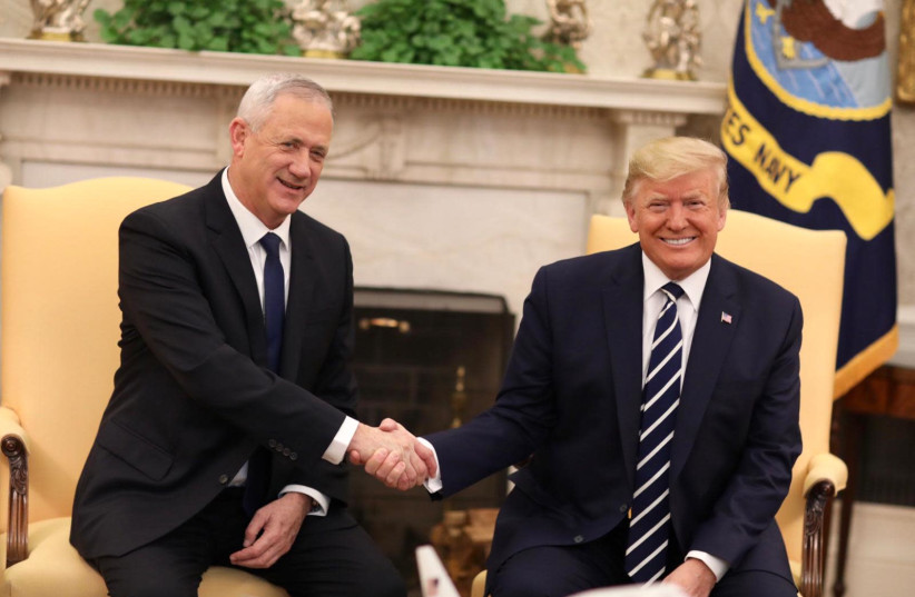 US President Donald Trump welcomes Blue and White leader Benny Gantz at the White House (photo credit: ELAD MALKA)