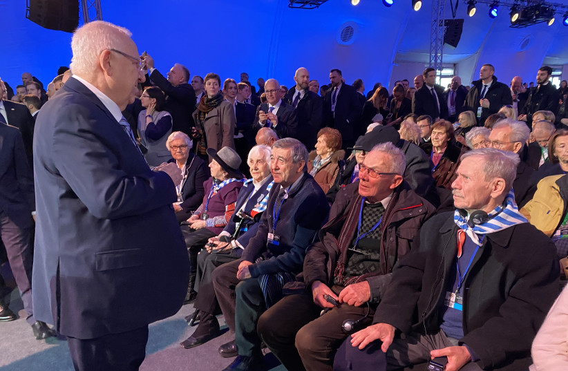 President Reuven Rivlin at the 75th Anniversary of the Liberation of Auschwitz (photo credit: TOMER REICHMAN/COURTESY)